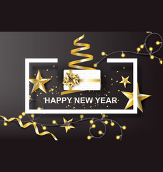 paper art of happy new year with golden gift bow vector image