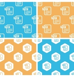 Pdf document pattern set colored vector