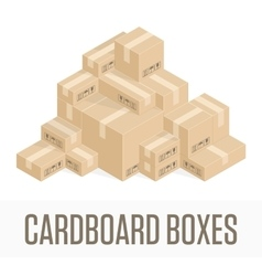 Pile cardboard boxes vector