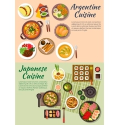 Popular argentine and japanese food flat icon vector