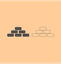 pyramid dark grey set icon vector image