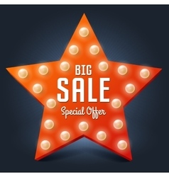 Sale retro light star big sale vector