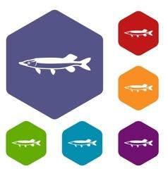 Saury icons set vector
