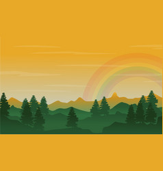 Silhouette of hill and spruce with beauty rainbow vector