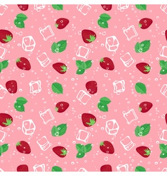 Strawberry mojito seamless pattern on pink vector