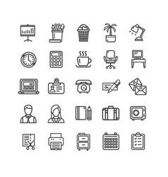 symbol office work black thin line icon set vector image vector image