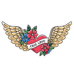 tattoo flying heart with wings true love vector image