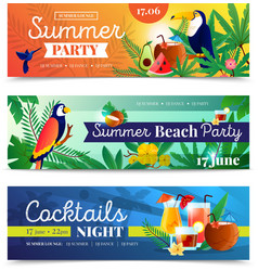 Tropical Cocktail Beach Party Banners Set vector image vector image