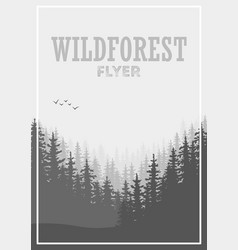 Wild coniferous forest flyer background pine tree vector