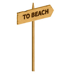 Wooden to beach sign vector