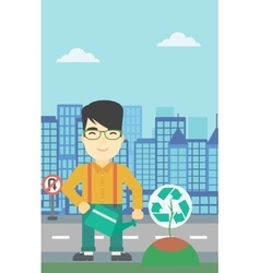 Man watering tree with recycle sign vector