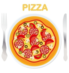 Pizza on a plate with fork and knife vector