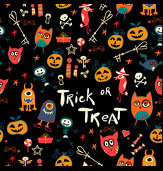 halloween seamless trick-or-treat pattern vector image