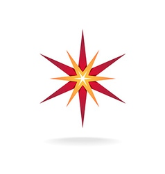 Star burst decoration sign six rays red and orange vector
