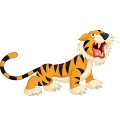 Cute cartoon tiger roaring vector