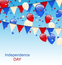 American greeting card with balloons and bunting vector