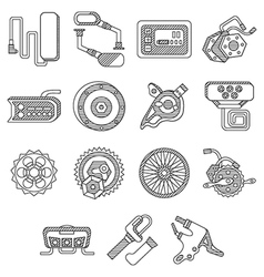 Parts for electric bike flat line icons vector