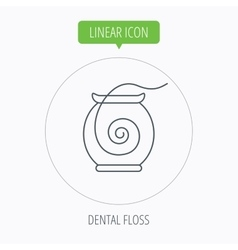 Dental floss icon teeth cleaning sign vector