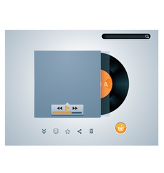 Vinyl disk in envelope music player vector