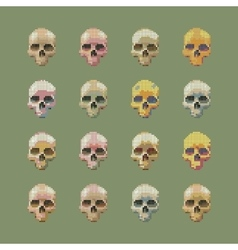 set of stylized skull on a green background vector image