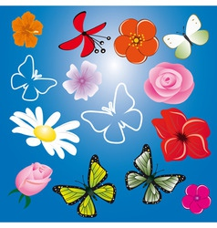 a collection of flowers and butterflies vector image vector image