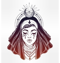 a nun with tears in her eyes vector image