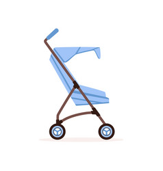 Blue baby carriage safe handle transportation of vector