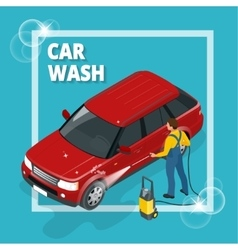Business concept car wash car wash auto cleaner vector