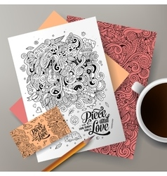 Cartoon doodles hippie corporate identity vector