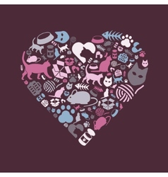 Cat icons in heart vector