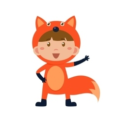 Child wearing costume of fox vector