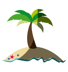 Colorful silhouette of island with palm tree and vector