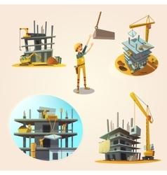 Construction cartoon set vector