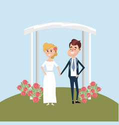 Couple married with flowers decoration design vector