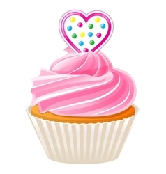 Cupcake with pink heart vector