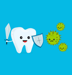 cute happy funny smiling fighting tooth vector image vector image