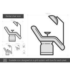 Dental chair line icon vector