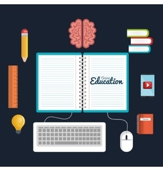 Education online icons study reading digital vector
