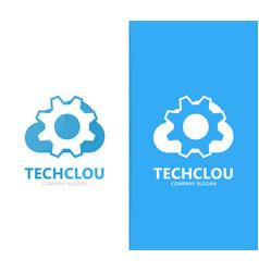 Gear and cloud logo combination vector