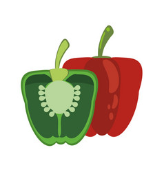 green and red pepper food healthy image vector image