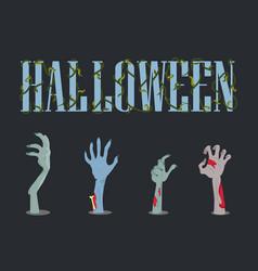 Halloween placard and hands vector