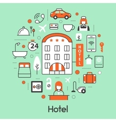 Hotel Accomodation Thin Line Icons Set vector image vector image