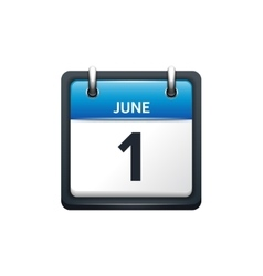 June 1 calendar icon flat vector