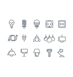 Lamp and bulbs line icons set Electrical vector image
