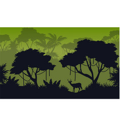 Landscape of forest with deer silhouette vector