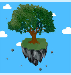 Magic tree on flying rock island vector