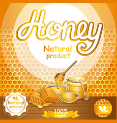 Natural honey advertising for retail vector