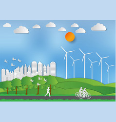 Paper art style of landscape and people in city vector