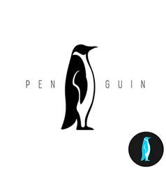 Penguin black silhouette logo Side view of a vector image vector image