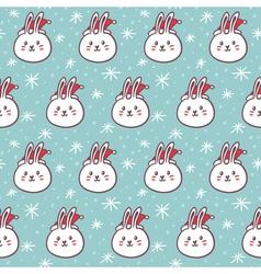 Rabbits in santas hats seamless pattern vector